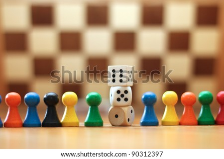 Board Game Pieces and Dices - stock photo