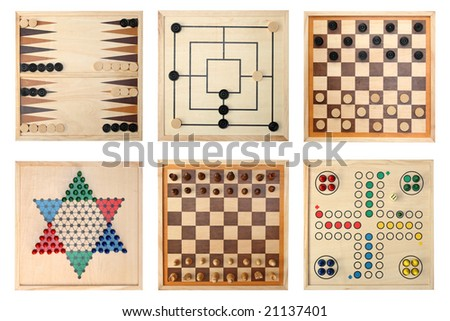 Board games - Backgammon, Nine Men's Morris,Draughts(checkers), Halma,Chess,Do not get angry - stock photo