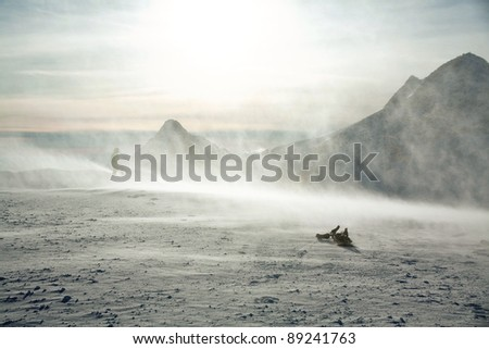 Board in the storm - stock photo