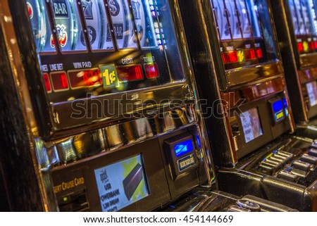 board MSC - Musica - July 4, 2016:Slot machine. It's one of the luxury ship sail in the Mediterranean sea. It can accommodate 3000 passengers and 1500 crew members