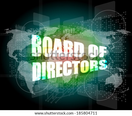 board of directors words on digital screen background with world map, infographics - stock photo
