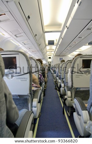 board of the airplane with passenger - stock photo