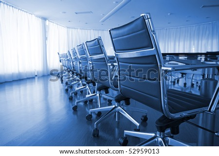 board room, office, work place, conference, chairs, table - stock photo