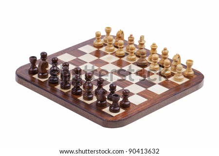 Board with pocket chess on white background - stock photo