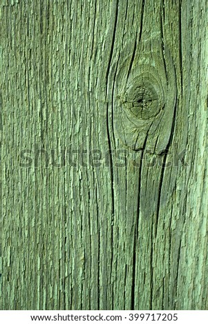 Board wooden vertical with knot old aged green faded paint plank closeup on timber background