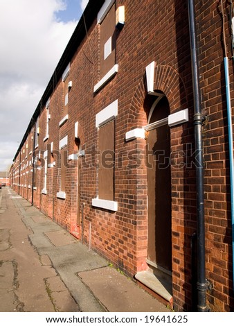 Boarded up and Abandoned British Northern Houses - stock photo