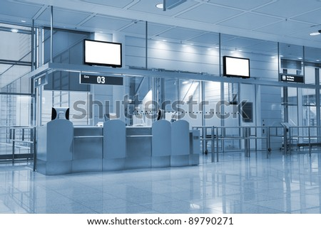 Boarding gate at an airport (see also color version 135544412) - stock photo