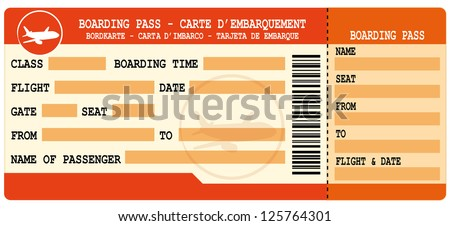 Boarding pass. Red flight coupon isolated on white background. - stock photo