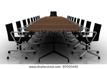 Boardroom desk and chairs - stock photo