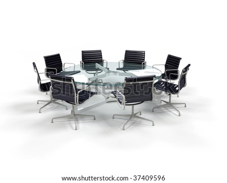 Boardroom with glass table and clack chairs - stock photo
