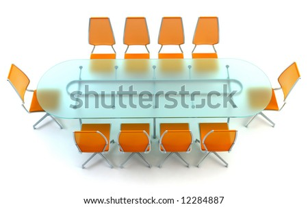 boardroom with table and chairs 3d rendering on white background - stock photo