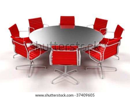 Boardroom with table and red chairs