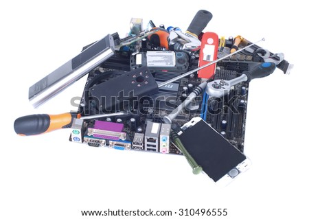 Boards, remote, radio chip, modem, cable, screwdriver - a pile of garbage isolated white - stock photo