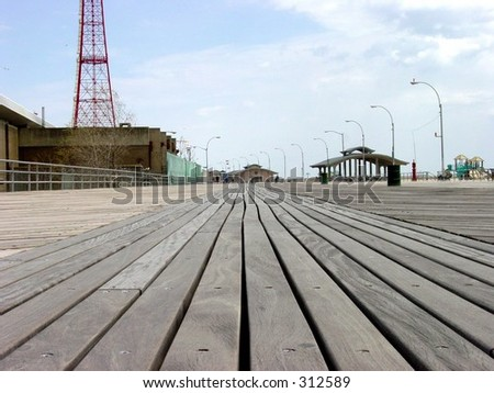 Boardwalk at Coney Island - stock photo