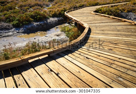 Boardwalk at Death Valley National Park - stock photo