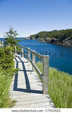 Boardwalk at La Manche Provincial Park Newfoundland - stock photo