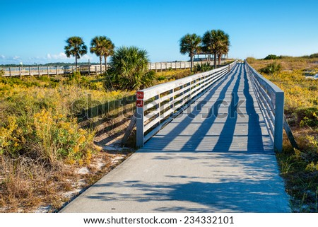 Boardwalk at St. Andrews State Park in Panama City Beach, Florida - stock photo