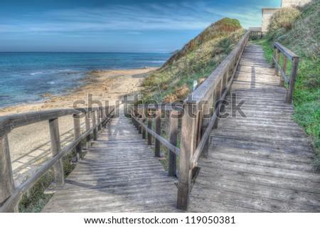 boardwalk in hdr toning - stock photo