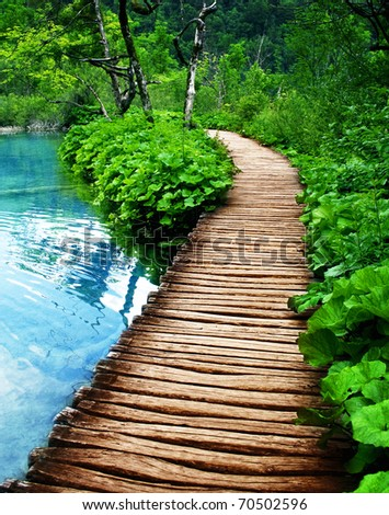 boardwalk in Plitvice - stock photo