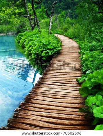 boardwalk in Plitvice - stock photo