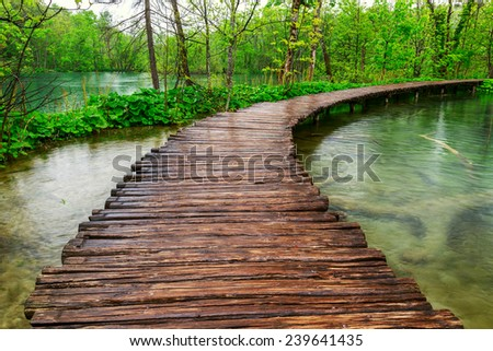 Boardwalk in the park Plitvice lakes, Croatia - stock photo