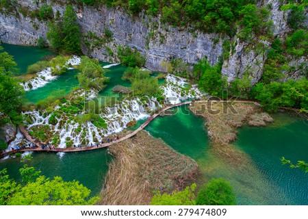 Boardwalk in the park Plitvice lakes, Croatia - stock photo