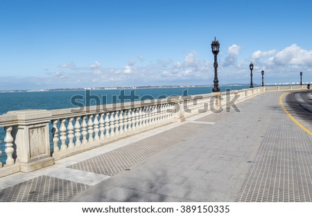 Boardwalk of Cadiz, Genoves Park, Andalusia, Spain. Sea, Sunny day and nice sky.