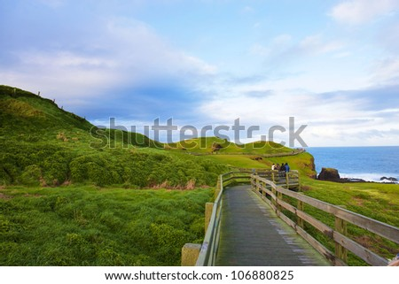 Boardwalk on Australian Coastline. Phillip Island, Victoria. - stock photo