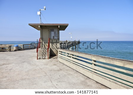 Boardwalk pier with an ocean view in Point Loma California. - stock photo