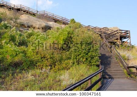 boardwalk trail on Pompeys Pillar National Monument - stock photo