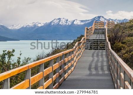 Boardwalks around Perito Moreno glacier, Patagonia, Argentina - stock photo