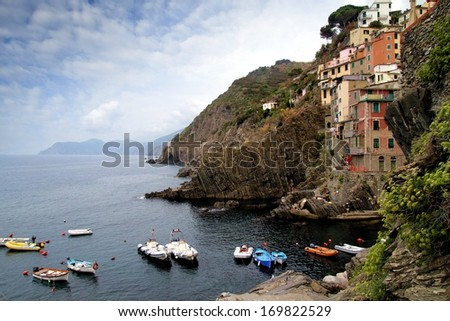 Boast anchored in Riomaggiore coast, Cinque Terre - stock photo