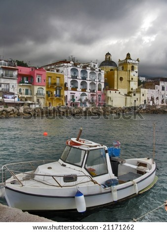 Boat anchored near Ischia island, Italy - stock photo