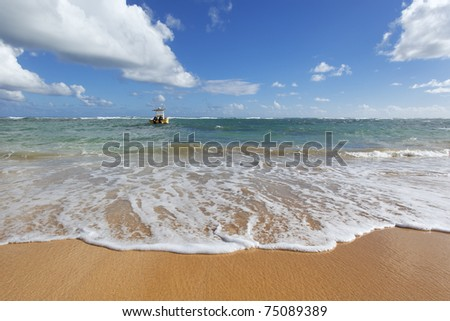 boat and beach - stock photo