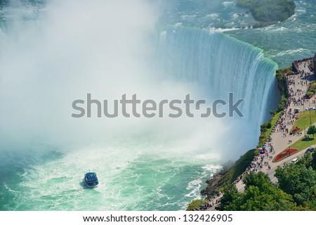 Boat and Horseshoe Falls from Niagara Falls - stock photo