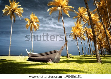 Boat and palms in infrared. - stock photo