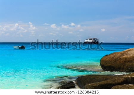 Boat and ship on the andaman sea, similan island, Thailand