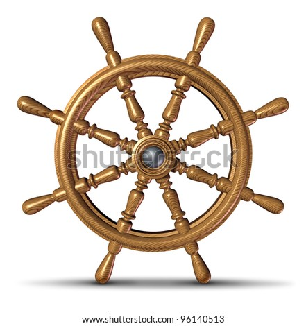 Boat and ship steering wheel as a nautical control symbol of direction and guidance by a boating captain or director on a yacht or ocean water vessel leading the vessel to safe waters.