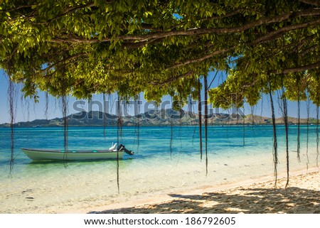 Boat and trees on a tropical beach in Fiji Islands - stock photo