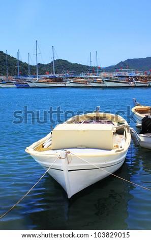 Boat and yachts, near Kekova island, Turkey - stock photo