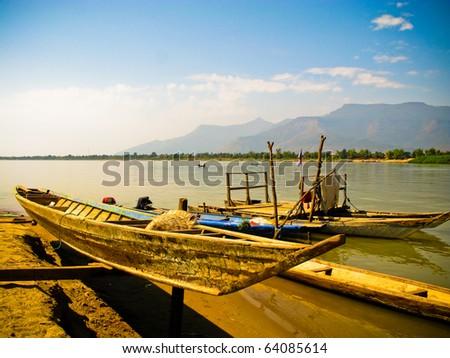 boat at Champasak, Laos - stock photo