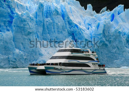 Boat at glacier Perito Moreno in El Calafate, Patagonia, Argentina - stock photo