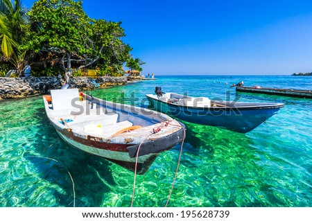 boat at islas de rosario colombia - stock photo