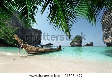 boat at Phi Phi island, Thailand - stock photo