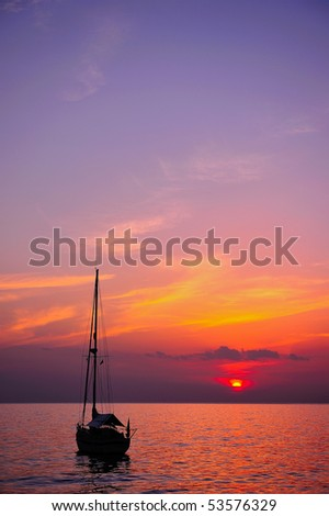 Boat at sunset time, Trang, Thailand - stock photo