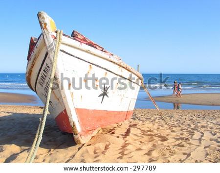 boat at the beach - stock photo