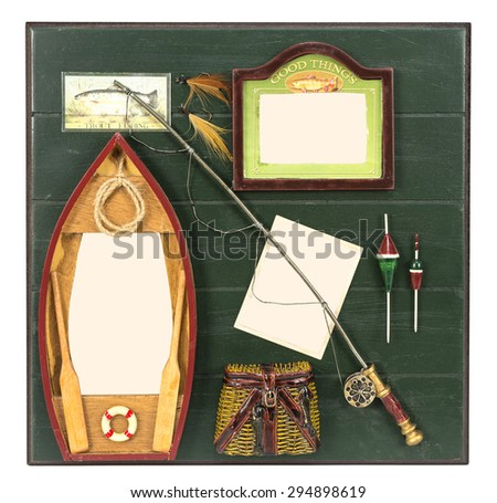 Boat, bag, reel and lure on wooden table with several places for your pictures - stock photo