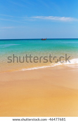 Boat, beach and sea as background