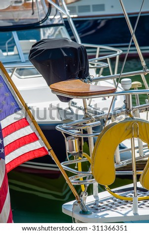 boat captains seat with american flag - stock photo