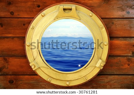 Boat closed porthole with seascape vacation ocean view [Photo Illustration] - stock photo
